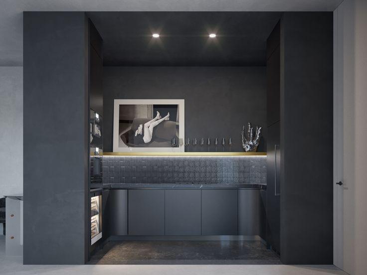 black monochrome kitchen marble black & white photography monochrome interior
