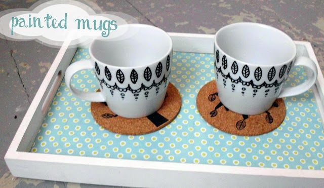 painted mugs : sharpies arent diswasher safe.choose PorcelainPEN. Make little dots for orientation. Small mistakes can be fixed by simply scratching off the paint with your finger nails. If you have bigger accidents, remove the paint using nail polish remover. Let dry at least 4 hours. Then put your mugs in the oven and bake for 90 minutes at 320°F to set the paint.