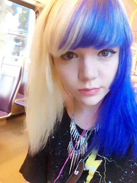 Half blue blonde hair