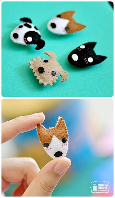 Felt puppies.cute kawaii brooch designs