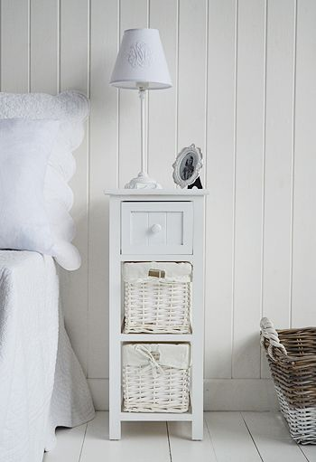 Bar Harbor white bedside table with baskets and drawers. Affordable and elegant storage solutions for your home from The White Lighthouse