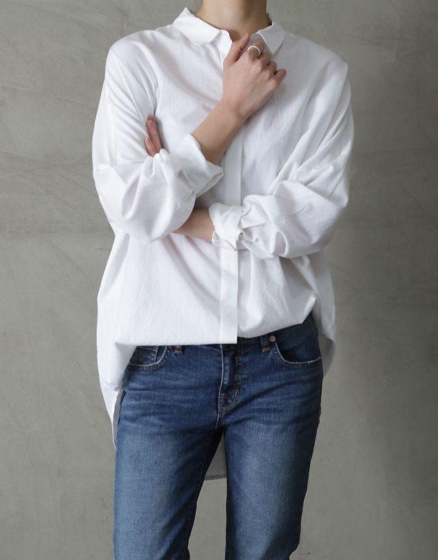 denim + white shirt
