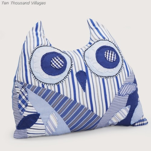 Patchwork owl from MCC Egypt is a soft companion, hand-stitched from fabric remnants and stuffed with shredded polyurethane foam and fiber.  $29