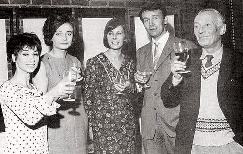 """The cast of the original """"Doctor Who"""" series celebrating the completion of the 50th episode. Carole Ann Ford, Jacqueline Hill, The Producer- Verity Lambert, Ian Chesterton, and William Hartnell."""