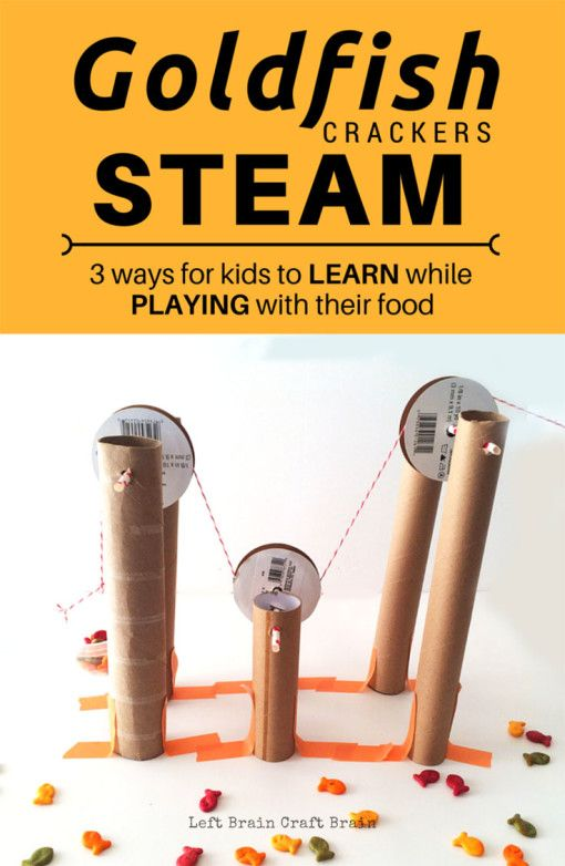 Kids can play & learn with their food with these fun Goldfish crackers STEAM snack activities.  Great for young engineers, mathematicians & artists.