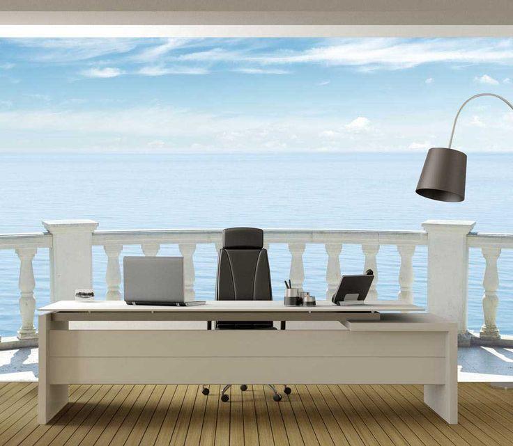 Une papier peint panoramique balcon sur la mer en trompe l'oeil