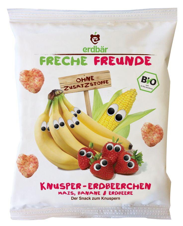 """Knusper-Erdbeerchen """"Mais, Banane & Erdbeere""""  Hört, hört, Edda Erdbeere hat sich mit Marc Mais und Bob Banane angefreundet und zusammen bilden sie jetzt """"Team Knusprig"""" in unseren leckeren Knusper-Erdbeerchen"""