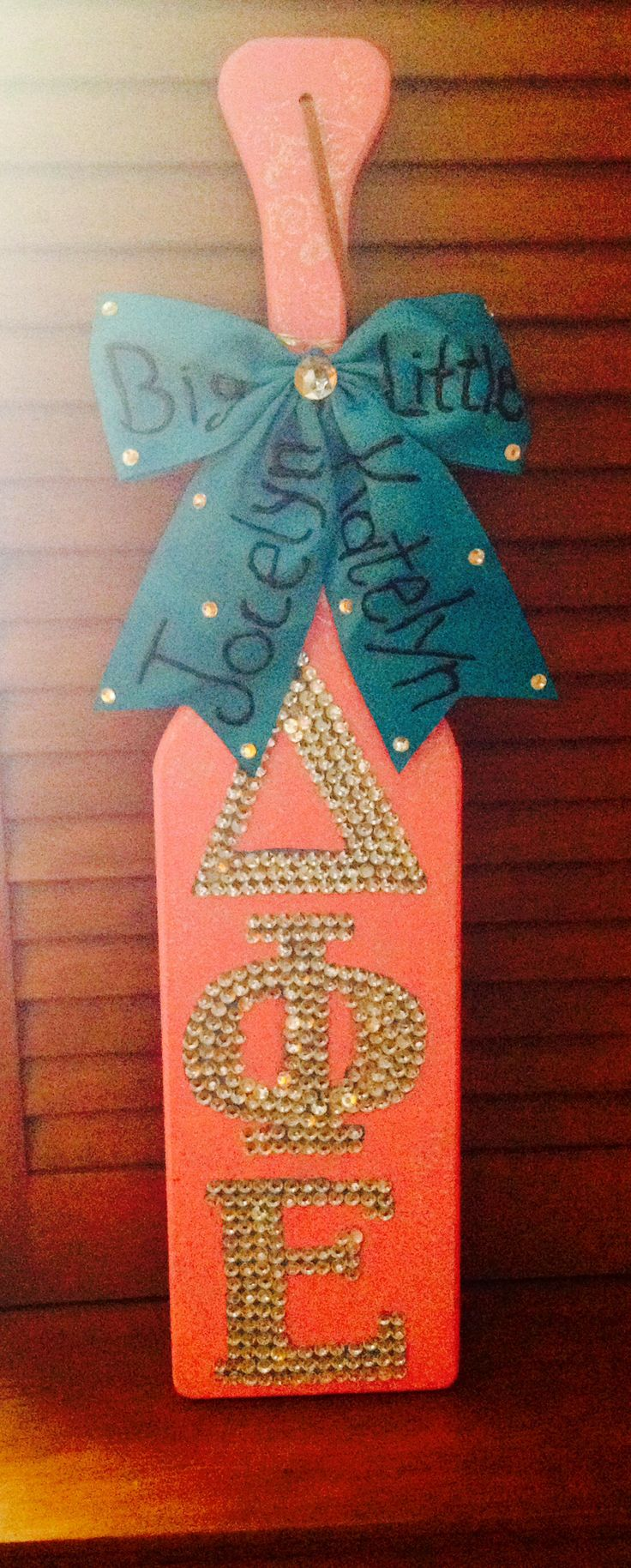 Delta phi epsilon paddle  One of my sisters made this!!! Yay for a crafty Alpha class!