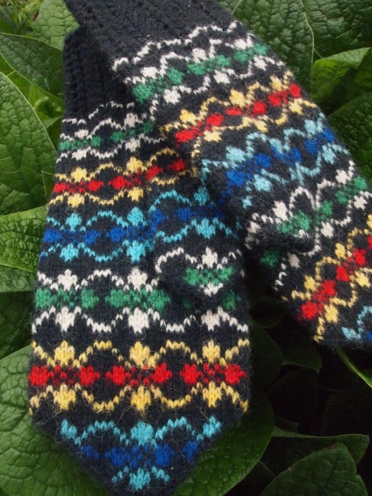 Seto (Estonian) Mittens in rainbow colors