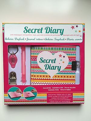 Tagebuch Buch mit Schloss Schlüssel Stift UV Licht Top Secret Geheim Geschenk