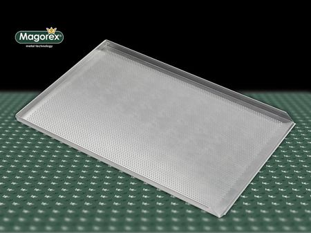 MAGOREX blachy piekarnicze aluminiowe, perforowane 3 mm, 3 rantowe, rant 90°, bez powłoki.