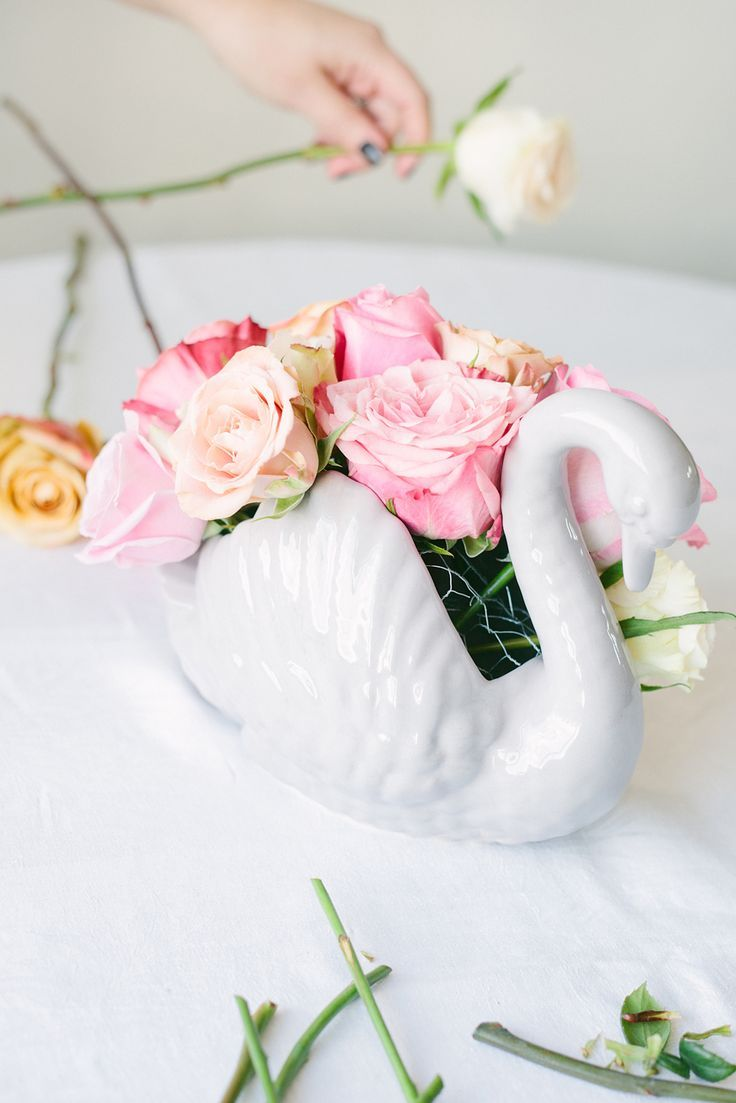 Throwing A Party? These 3 Flower DIYs Will Take Your Soiree To The Next Level  #refinery29  http://www.refinery29.com/floral-arrangements#slide23  5. Once all the flowers have been added to the vase check to see if there are any gaps in the arrangement. You shouldn't be able to see the chicken wire at all. Don't be afraid to remove bruised petals, too.