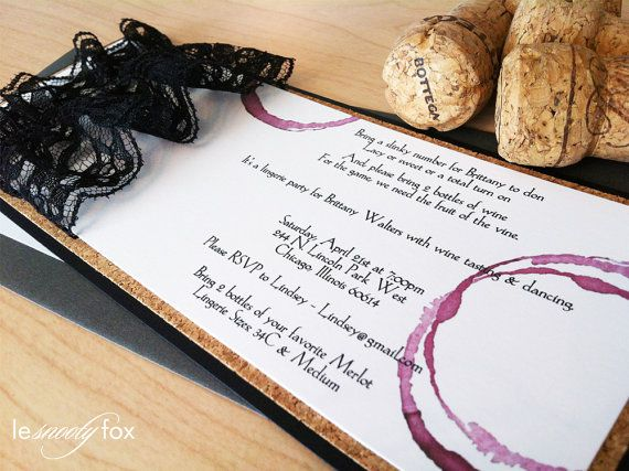 Lingerie Shower Invitation  Wine Tasting  Wine by LeSnootyFox, $8.00