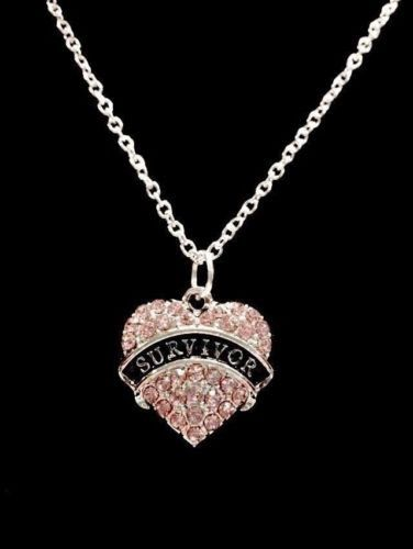 Pink Crystal Survivor Heart Breast Cancer Awareness Charm Necklace