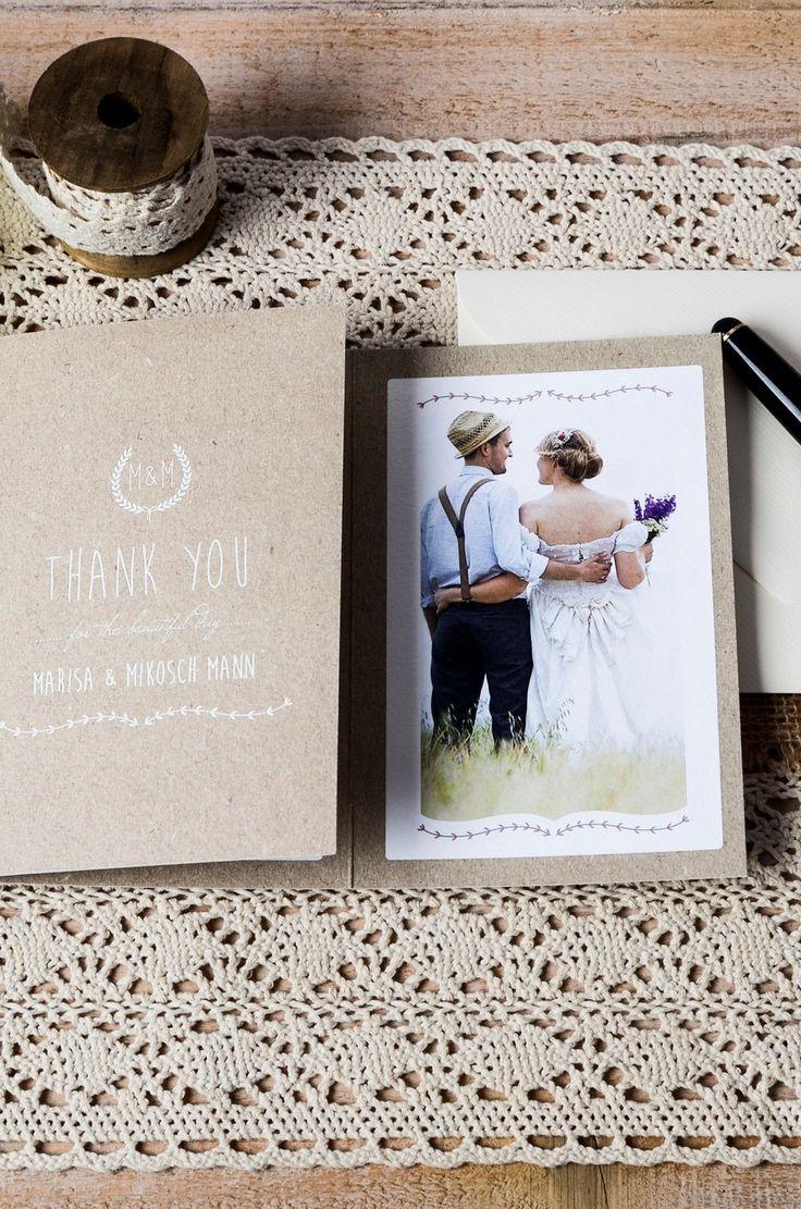"""Vintage Danksagungskarte  Hochzeit auf Naturpapier mit schönen Elementen in Weiß im Design """"Marisa und Mikosch"""" - carinokarten"""