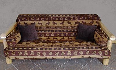 The Auburn Moose futon cover features rows of majestic moose images that are bordered by leafs and rows of bears. The pattern has a wonderful blend of tan, rust, copper, and brown that allow this pattern to fit into any color scheme of your cabin or lodge.