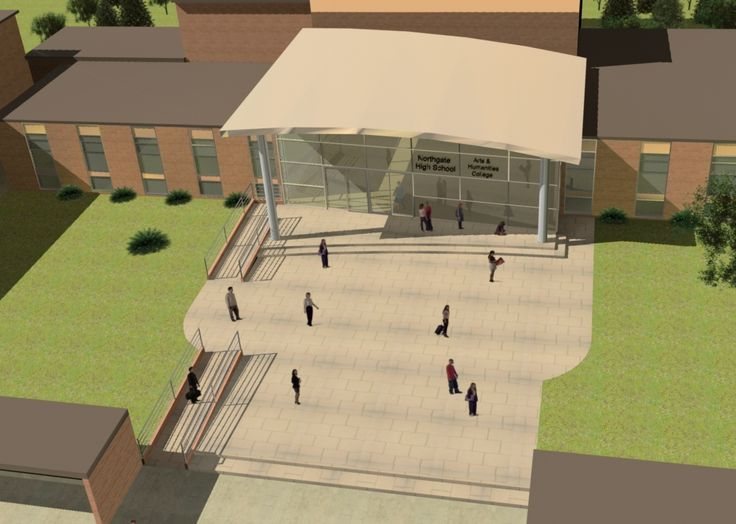 Northgate High School, Dereham. Norfolk. Russen & Turner were appointed Lead Designers to provide a new entrance and gallery space following the School being awarded Specialist Status. Visualisation of Entrance.