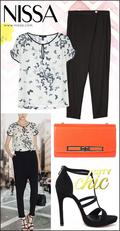 www.nissa.com  #nissa #outfit #fashionista #city #chic #fashion #inspiration #casual #print #butterflies #clutch #orange #look #style #stylish
