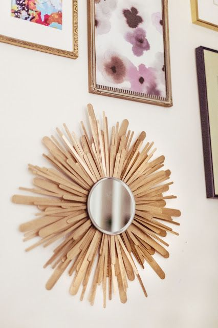 Sunburst mirror (mid-century modern design) from craft sticks. Other ideas as well on this page!