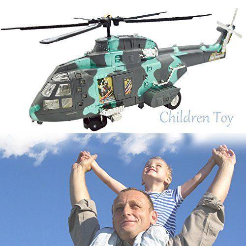Gosear® Modèle d'Hélicoptère Militaire Jouet Électrique avec Flash Lumineux Simuler Son Anniversaire Cadeau de Vacances Jouets pour Enfants…