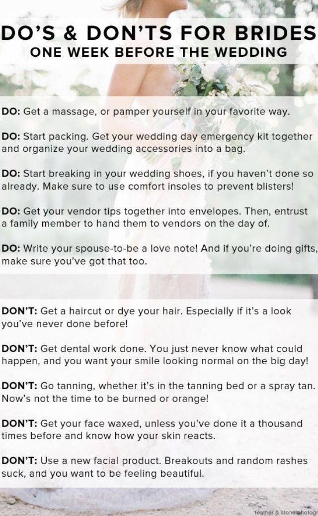 do & don'ts for brides one week before the wedding