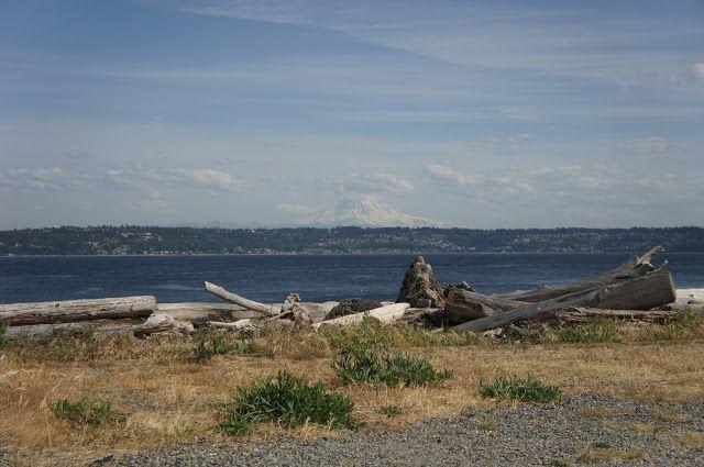 Mount Rainier from a distance. Vashon Island, Seattle, Washington USA.