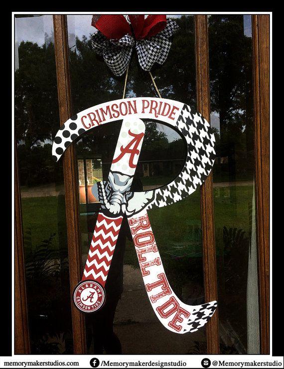Alabama inspired initial door hanger by Memory Maker Studio.  #rolltide #alabamafootball #alabamadoorhanger #alabamadoorwreath #footballdoorhanger #crimsontidedoorhanger #alabamawreath