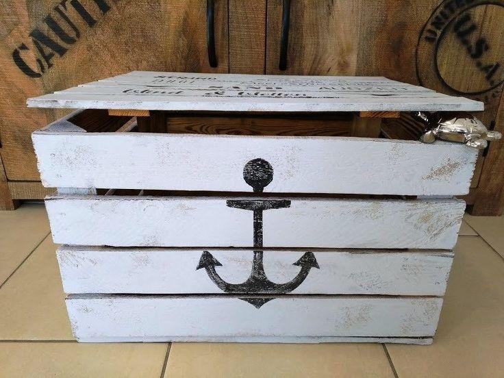 Maritime Holztruhe,Anker,Holzkiste mit Deckel,Aufbewahrung