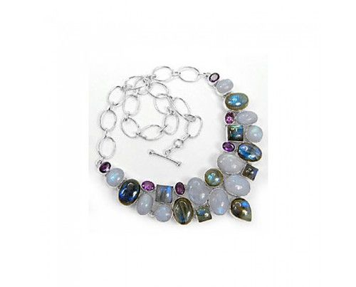 Awesome 925 sterling silver Rainbow Moonstone labradorite And Amethyst Gemstone Cluster  Necklace #fashion