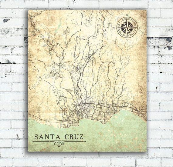 SANTA CRUZ CA Canvas Print California Vintage map Santa Cruz ca City map Vintage map wall Art poster Vintage retro old large oversized map