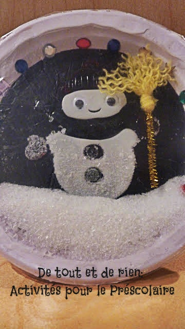Real snowing snow globe made with paper plate. AWESOME! Done this with