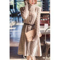 Trendy Long Sleeve Stand-Up Collar Cable-Knit Women's DressSweater Dresses   RoseGal.com