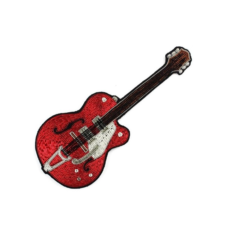 """Very large hand-embroidered """"Red Guitar"""" brooch - Macon&Lesquoy"""