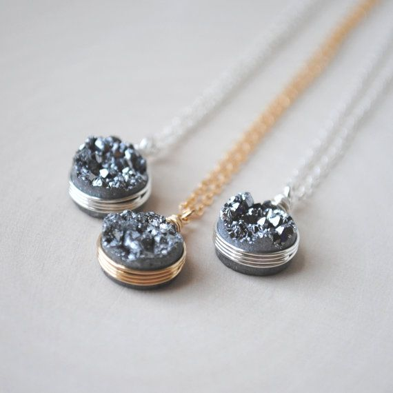 Druzy Necklace, Druzy Jewelry, Silver Druzy Necklace in Sterling Silver of 14K Gold Fill
