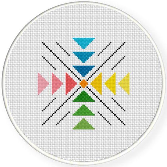 FREE Colorful Geometric Pattern Cross Stitch Pattern