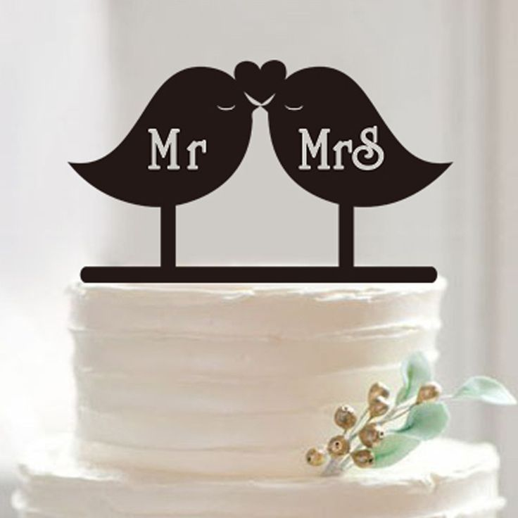 unique wedding cake topper | 2016 New couple Wedding Cake Topper Personalized acrylic Bird lovers ...