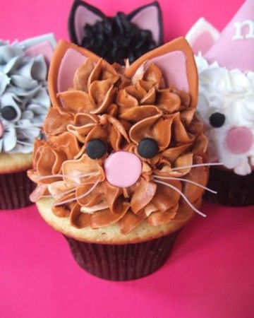 Cat Cupcakes -   Our Cutest Cupcakes photo contest for 2010 resulted in hundreds of very creative and truly unique entries. Take a look at the 20 winners' cupcakes.  These cupcakes will appeal to all cat lovers. They are 3GirlsandaCupcake's signature confection: Vanilla cupcakes with orange-vanilla buttercream and marshmallow fondant ears, eyes, and noses, plus clear noodles for whiskers.