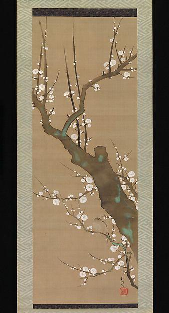 Sakai Hōitsu | White Plum Blossoms and Nightingale | Japan | Edo period (1615–1868) | The Met