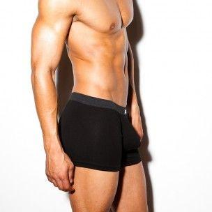 N2N Cotton boxerky black UN13 s anatomicky tvarovaným předním váčkem (push up)
