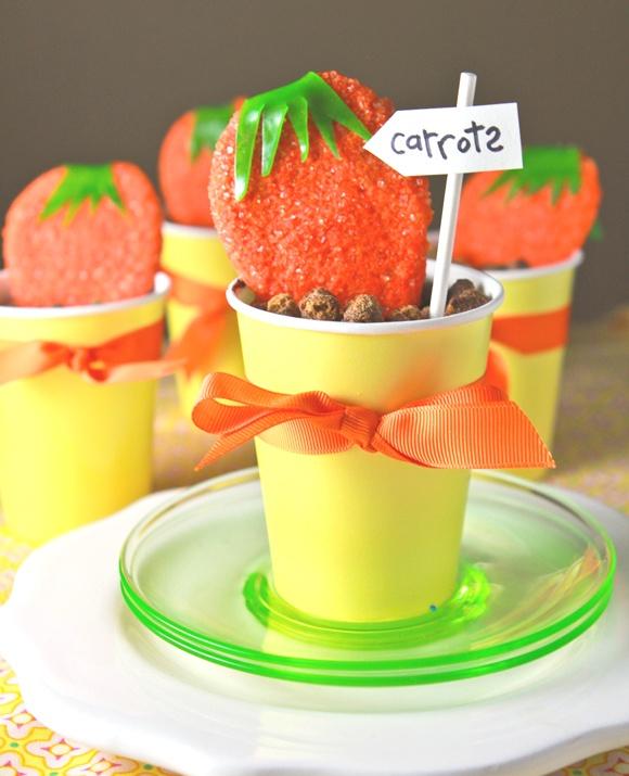 Carrot Sugar Cookies in Dirt Dessert~