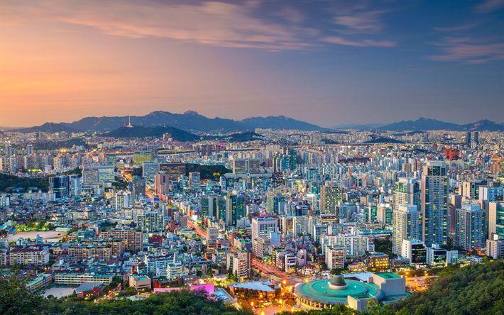 Download Wallpapers Seoul City Panorama Evening Metropolis South Korea City Download Evening Korea Metr City Landscape Panorama City Cities In Korea