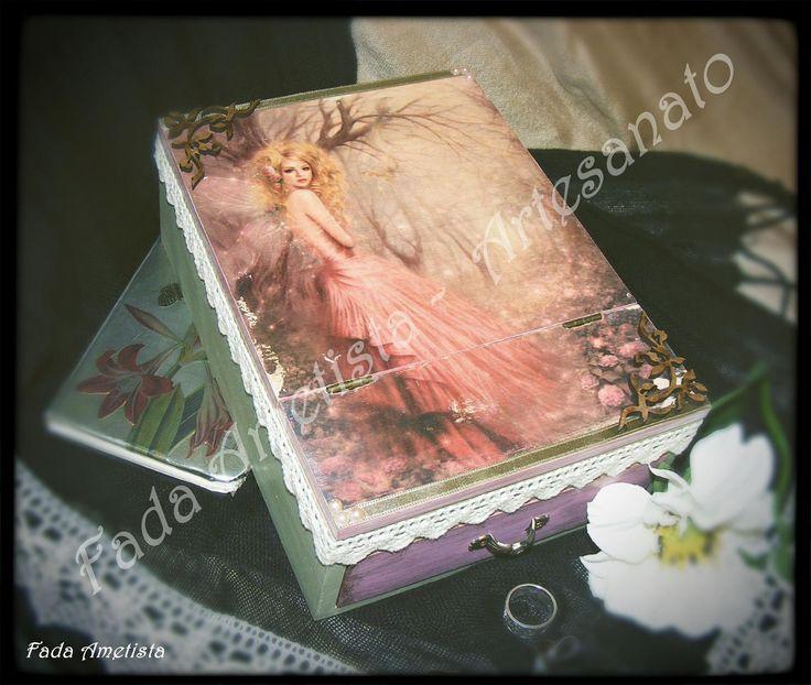 Caixa em madeira com espelho e gaveta ● Decoupage ● Vintage ● Romantic