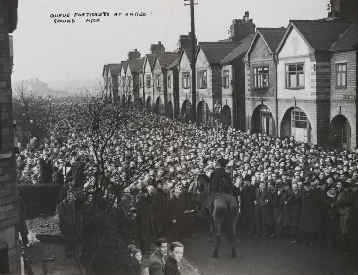 Scene after a stampede for tickets to see Manchester United.  February 1950
