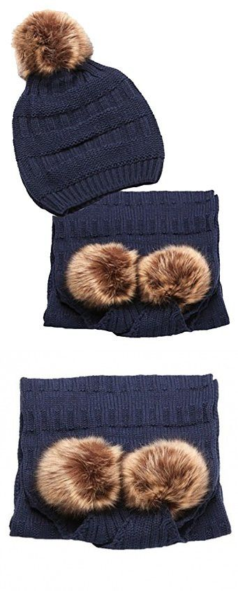 Urbanista Women's Rib Knitted Faux Fur Pom Pom Hat and Scarf Set, Navy