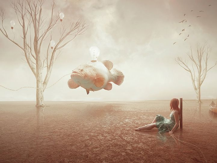 Artist Amandine van Ray creates eerie, surreal compositions that explore human emotion through powerfully expressive narratives. Each one of her ghostly figures floats unnaturally through the air in a journey where darkness and isolation seem to be the dominating forces that drive each visual story.