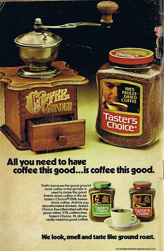 Tasters Choice coffee ad from 1974
