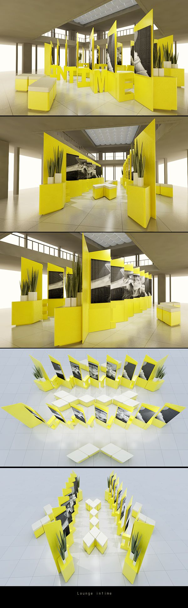 1. free-standing exhibit stands  2. Woo Eton | 邬 逸冬 3. https://www.behance.net/gallery/INTIME/12425587 4. the color of the exhibit is extremely interesting and would be eye catching across the room