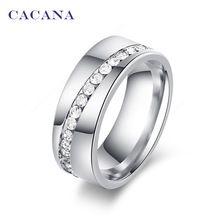 CACANA acier inoxydable anneaux pour les femmes slash une ligne de CZ diamant…