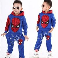Wish | 4 colors Spiderman Child Sports Suit 2 Pieces Set Tracksuits Boys Clothing Sets Coat+Pant Christmas Gift for Kid Fashion