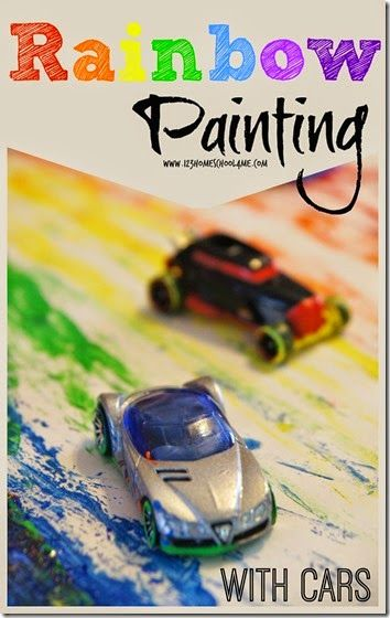 Rainbow Painting with Cars Kids Activities - this is such a fun St. Patrick's day activity or rainbow activity that toddler, preschool, and kindergarten kids will enjoy.